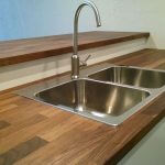 Walnut countertop with stainless sink