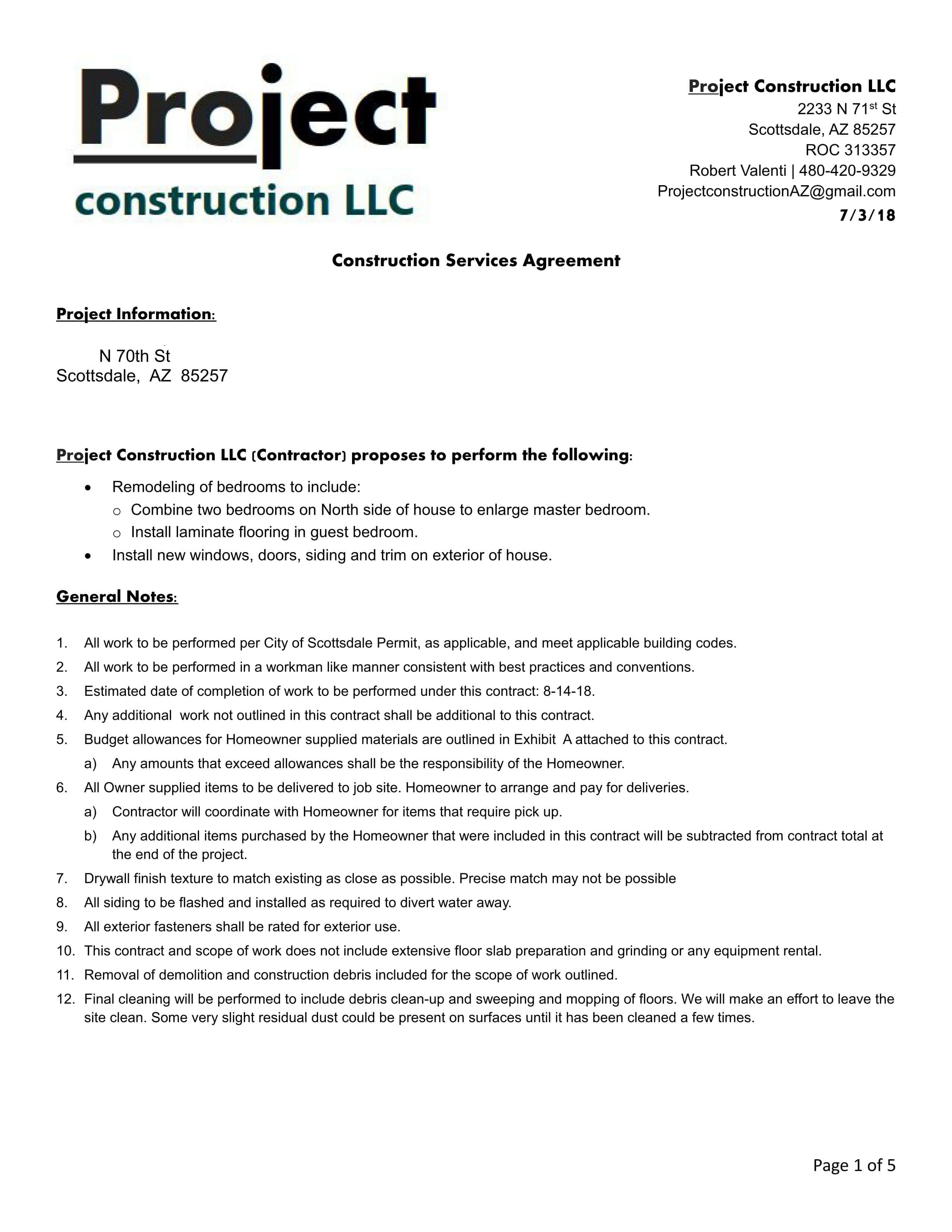 example of project contract