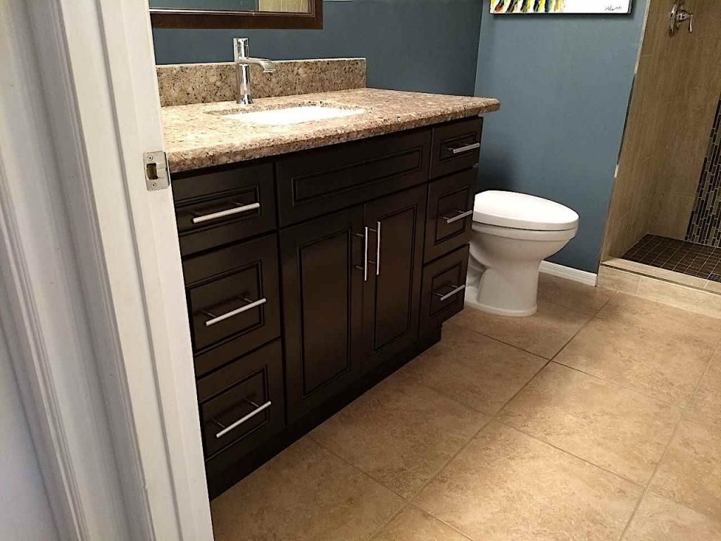 Dark vanity with granite countertop