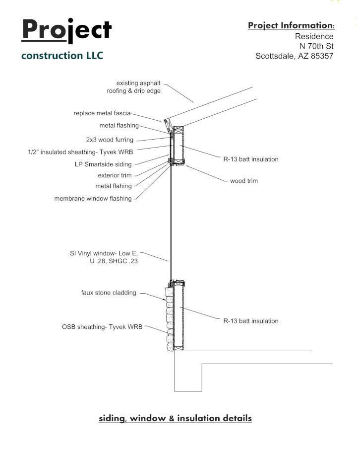 Window and siding section drawing detail