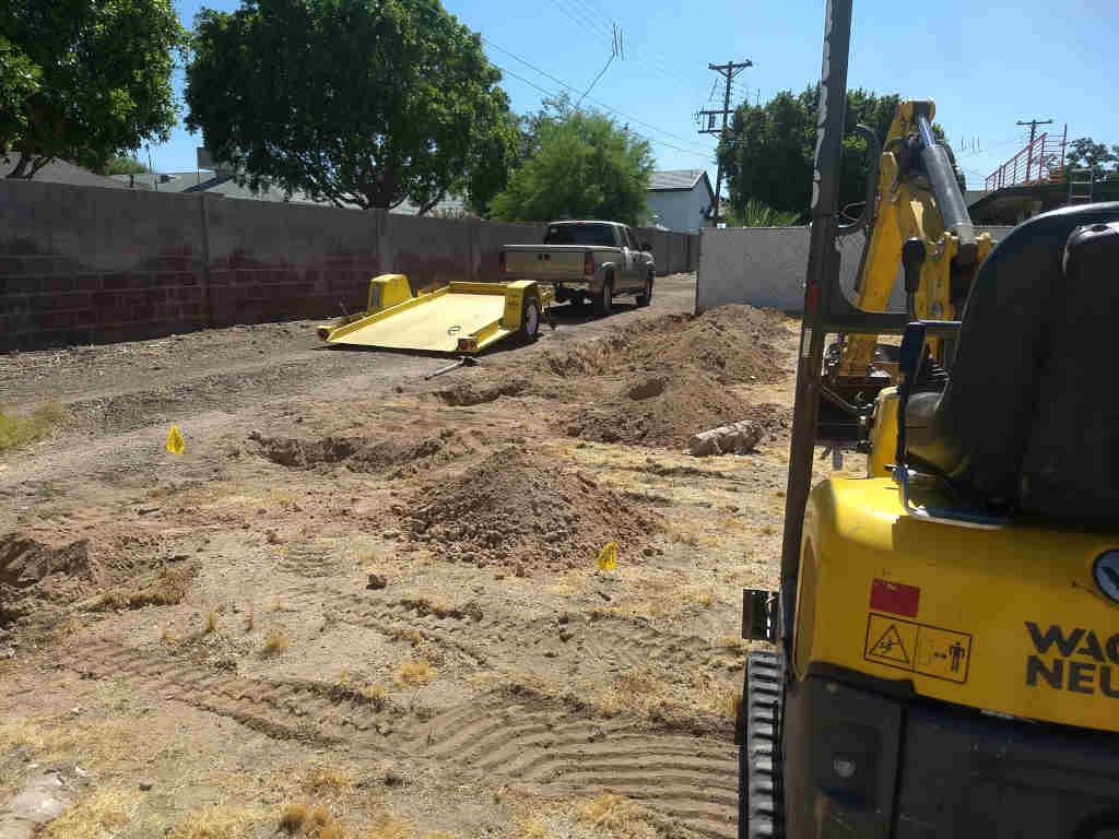steel fence footing excavation