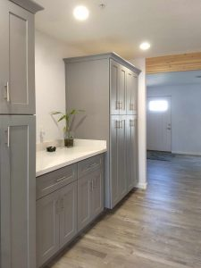 framhouse kitchen pantry wall beam
