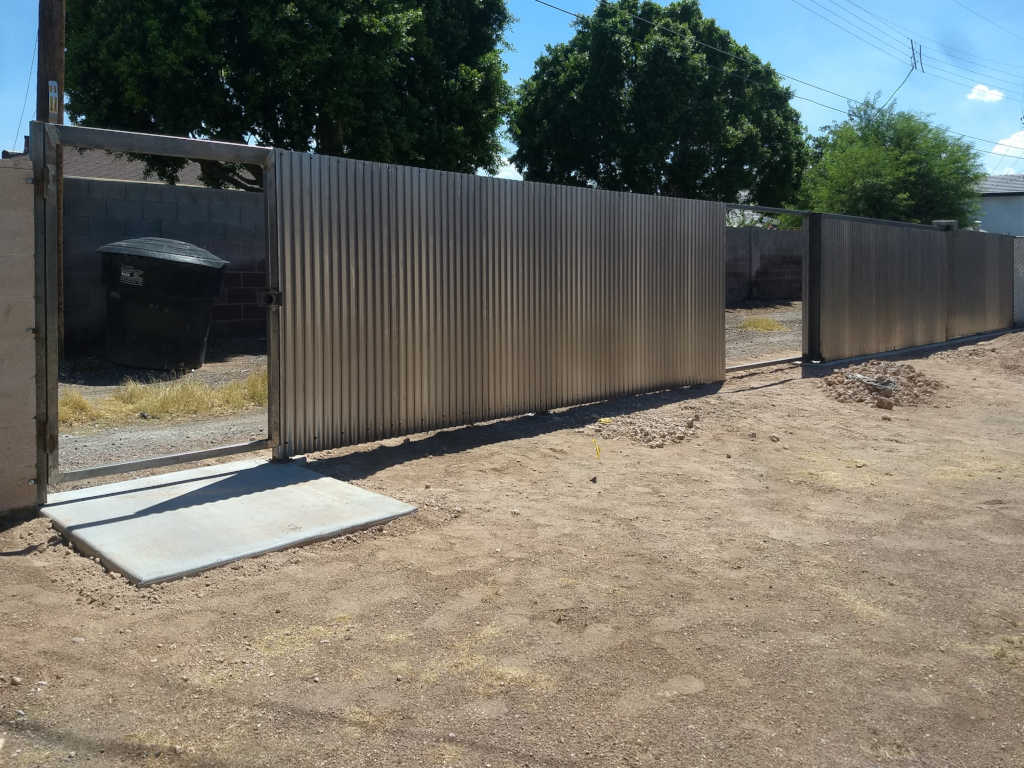 rusted corrugated steel fence in phoenix