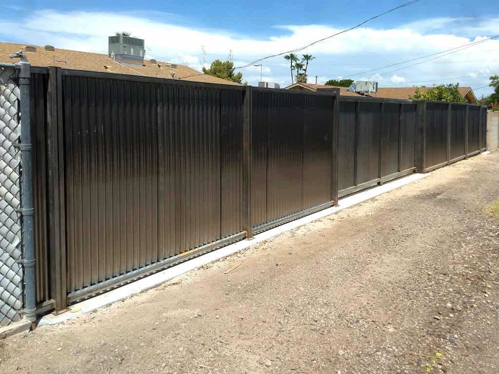 rusty corrugated steel fence in phoenix