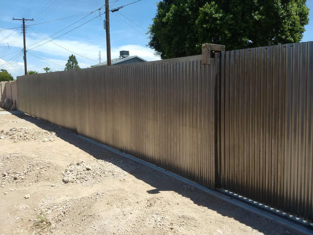 steel corrugated fence rolling gate scottsdale
