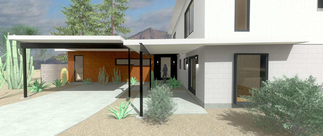 scottsdale modern house with a carport