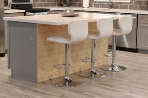 kitchen island with wood shiplap on the front