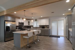 modern farmhouse kitchen with wood beam