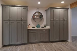 tall kitchen pantry cabinets in farmhouse kitchen