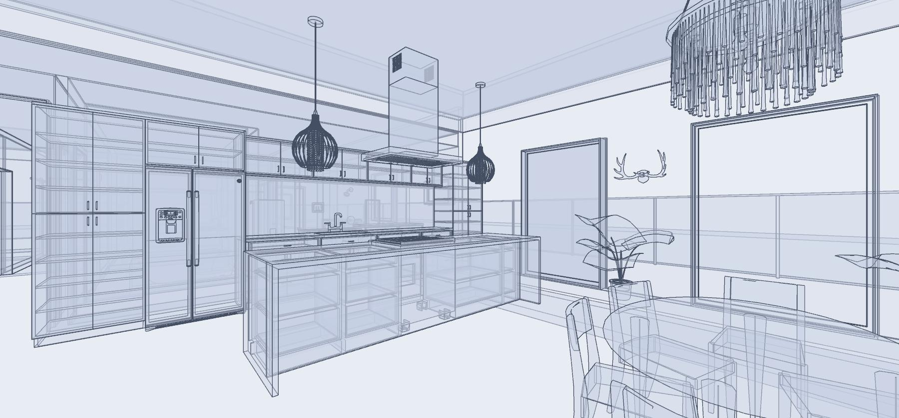 modern 3d kitchen design